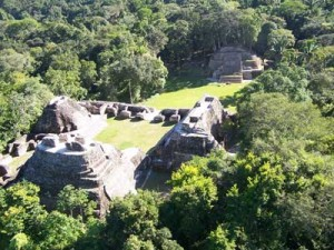 arial view of Caracol Maya site